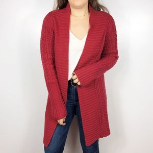 SUNDANCE | Red Triple Stitch Open Cardigan Sweater